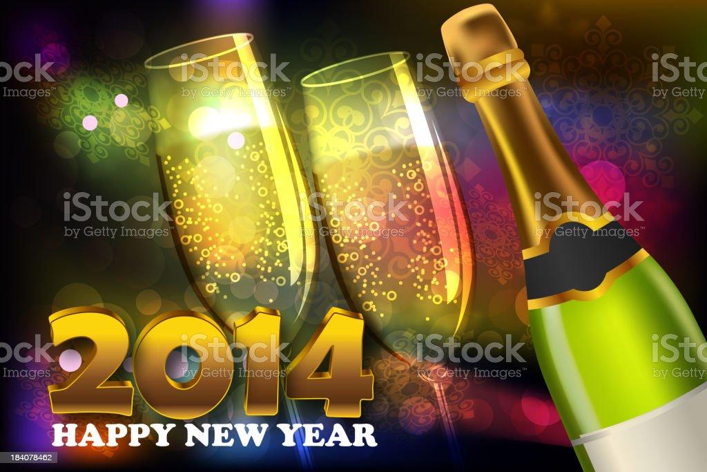 2014, Beautiful New Year Celebration Background royalty-free stock vector art