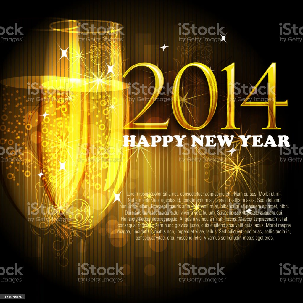 2014, Beautiful New Year Celebration Background vector art illustration