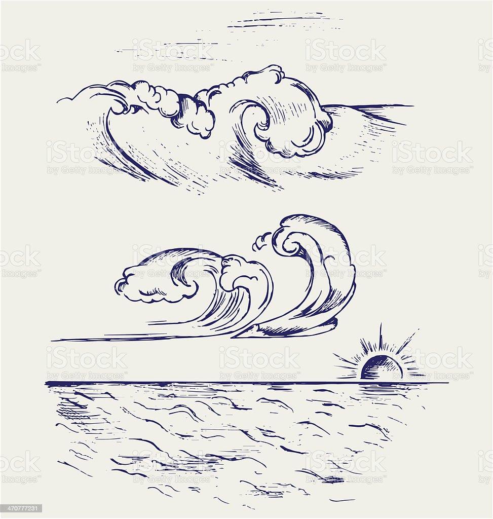 Beautiful Ocean Wave royalty-free stock vector art
