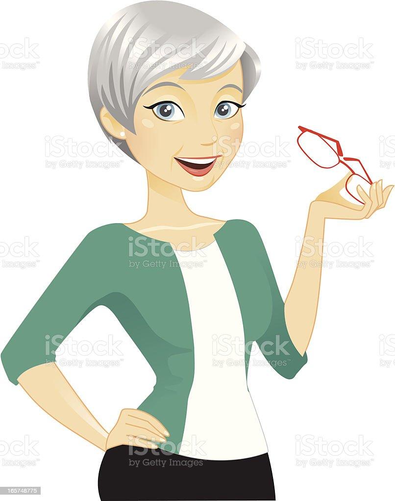 Beautiful Older Woman vector art illustration