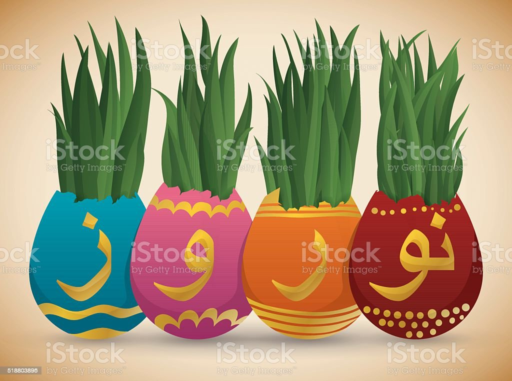 Beautiful Painted Eggs with Wheatgrass for Nowruz Holidays vector art illustration