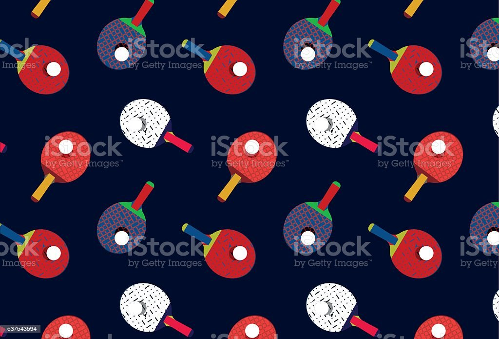 Beautiful pattern with ping pong rackets. vector art illustration