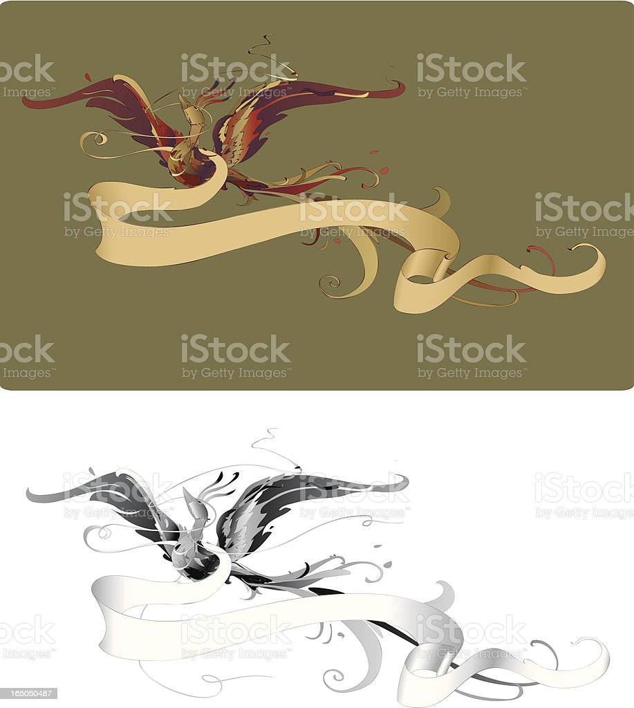 Beautiful phoenix bird with banner royalty-free stock vector art