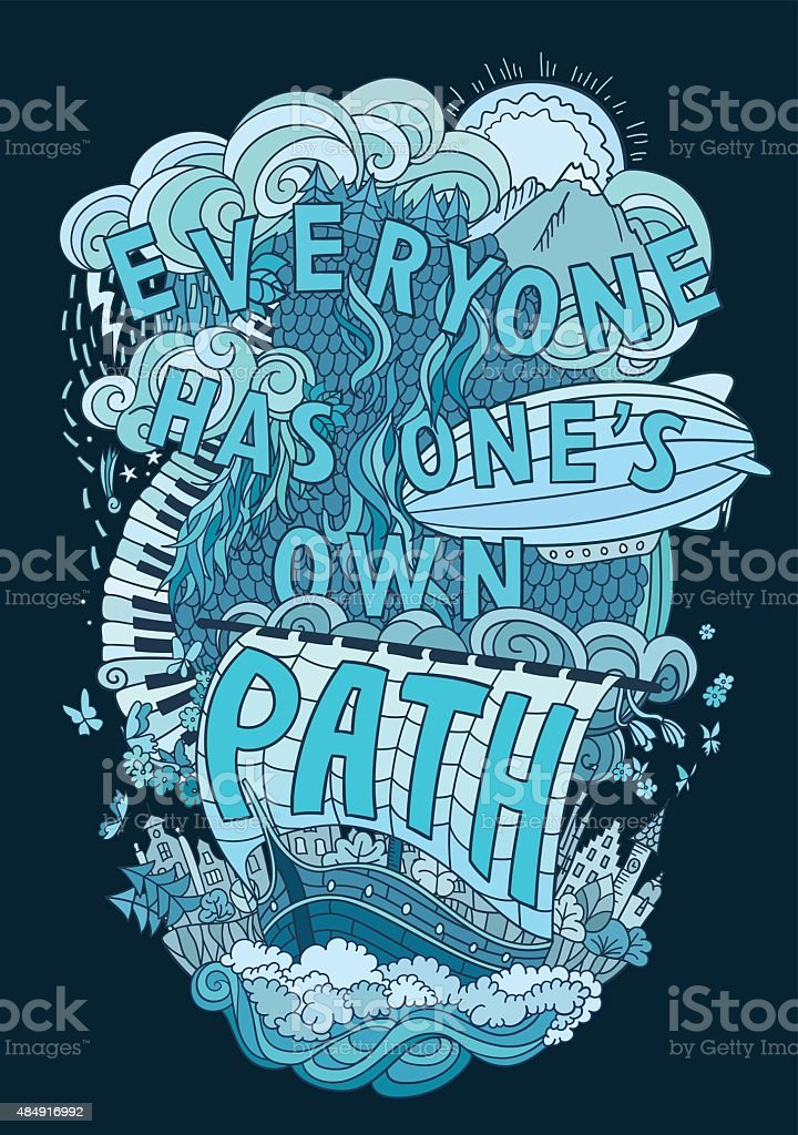 Beautiful phrase about life  hand lettering and doodles elements background vector art illustration