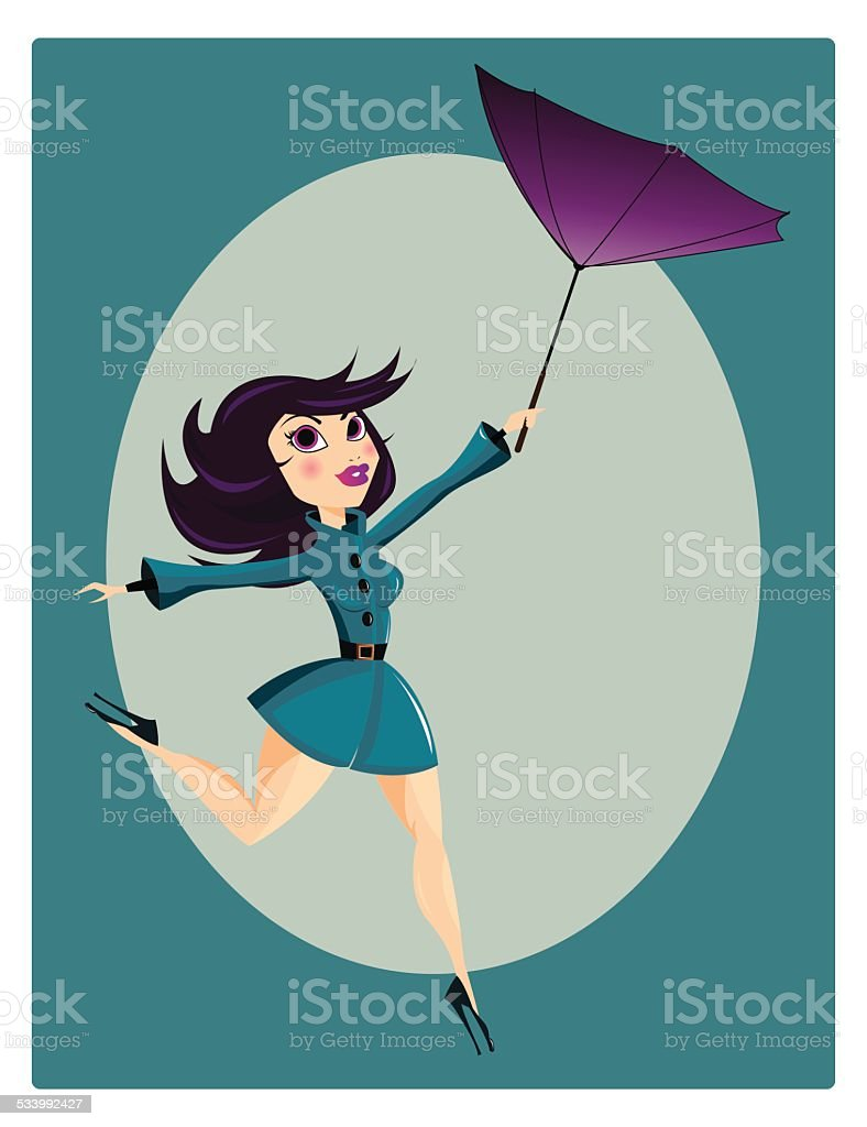 Beautiful pin up girl with flipped umbrella vector art illustration