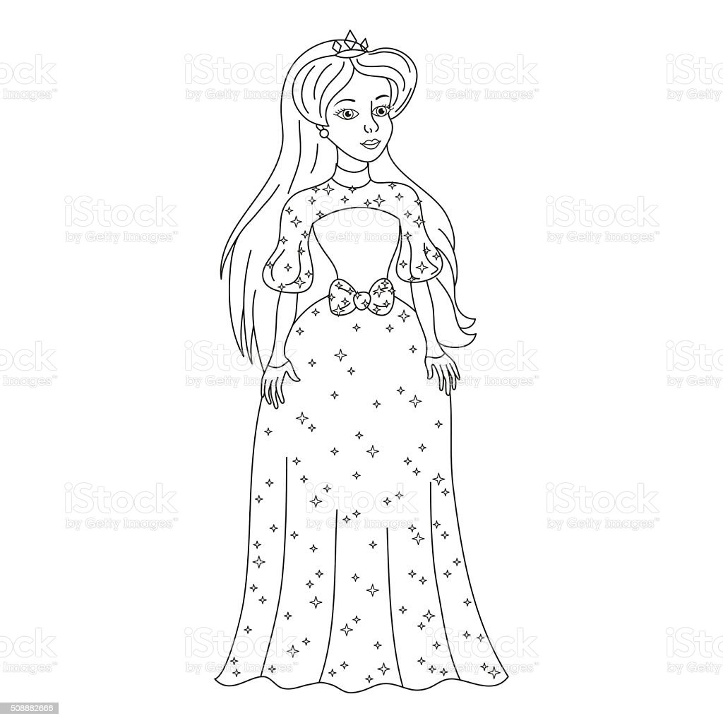 Beautiful princess in womanly dress with spangles, coloring book vector art illustration