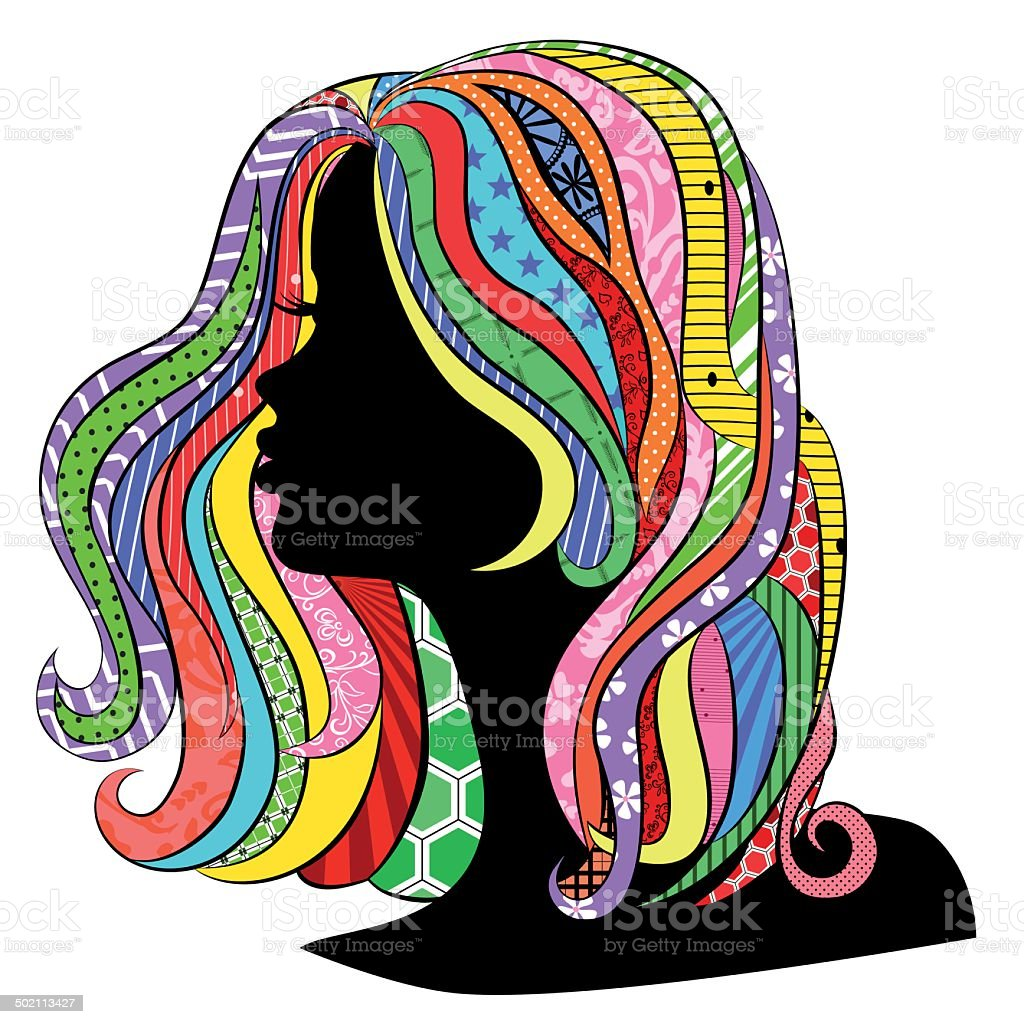 Beautiful profile royalty-free stock vector art