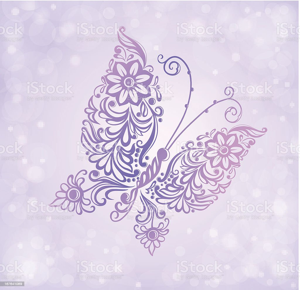 Beautiful purple butterfly flying against the brilliance and bokeh royalty-free stock vector art