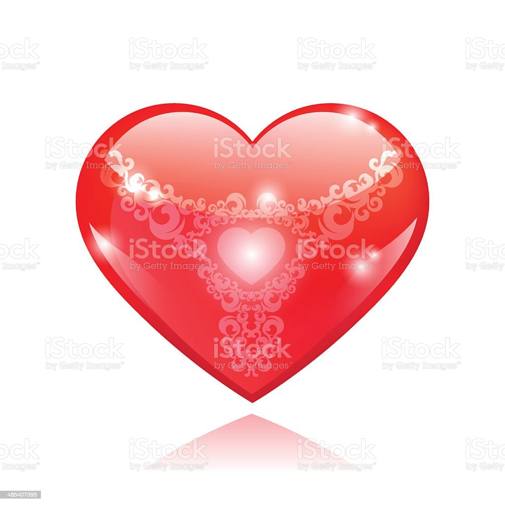 Beautiful red glossy heart shape with vintage pattern royalty-free stock vector art