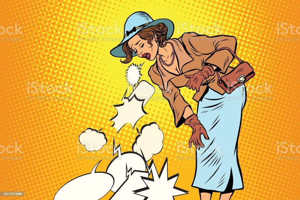 Beautiful retro woman vomiting review comic bubble vector art illustration