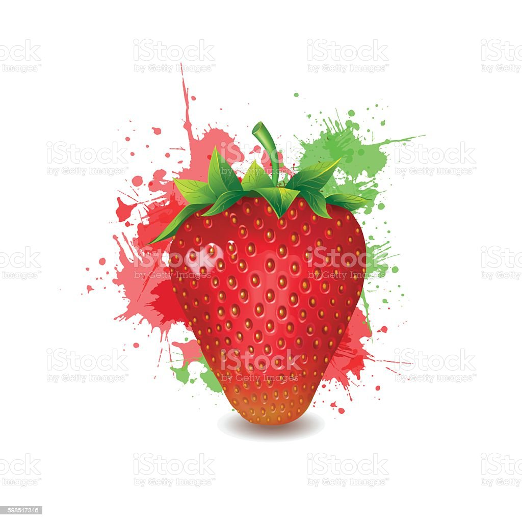 Beautiful ripe red strawberry with green leaves on a white. vector art illustration