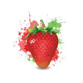 Beautiful ripe red strawberry with green leaves on a white.