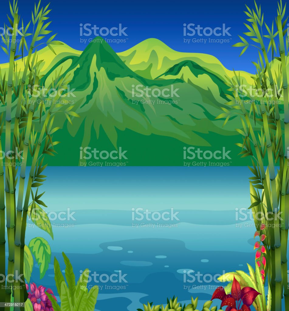 Beautiful river and mountain royalty-free stock vector art