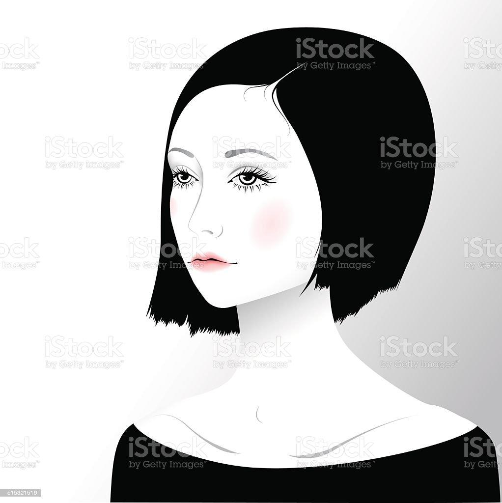 Beautiful romantic girl vector art illustration