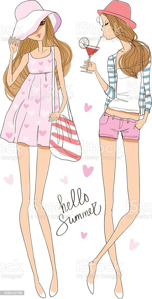 Beautiful romantic girl/sea-themed illustration royalty-free stock vector art