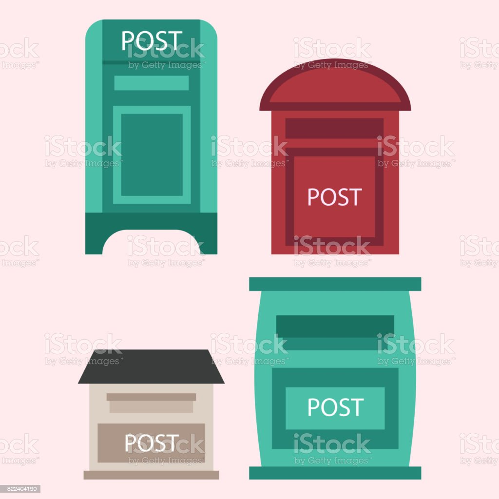 Beautiful rural curbside open and closed postal mailboxes with semaphore flag postbox vector illustration vector art illustration