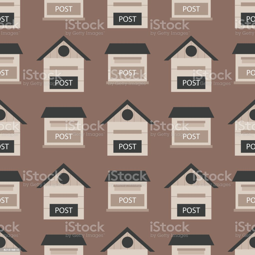 Beautiful rural curbside seamless pattern postal mailboxes with semaphore flag postbox vector illustration vector art illustration