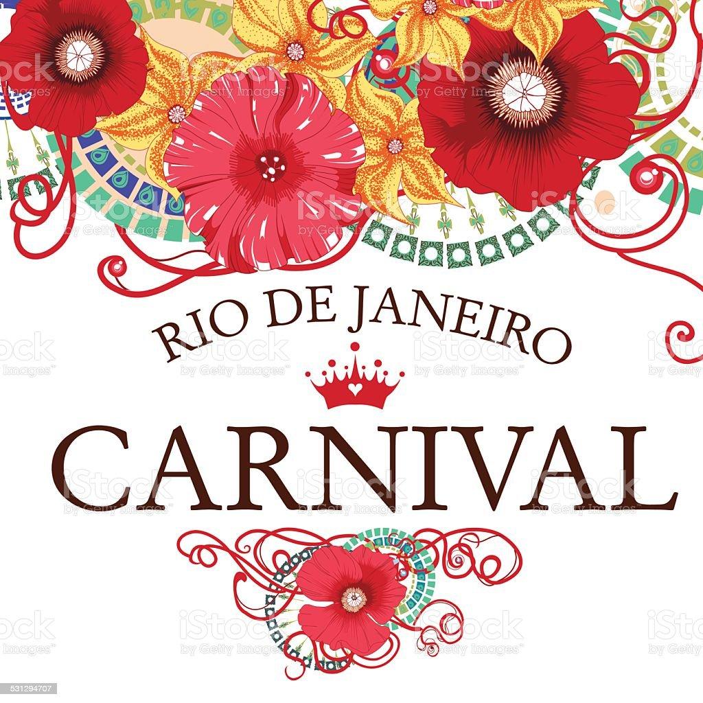 Beautiful samba dancer and flowers invitation design . vector art illustration
