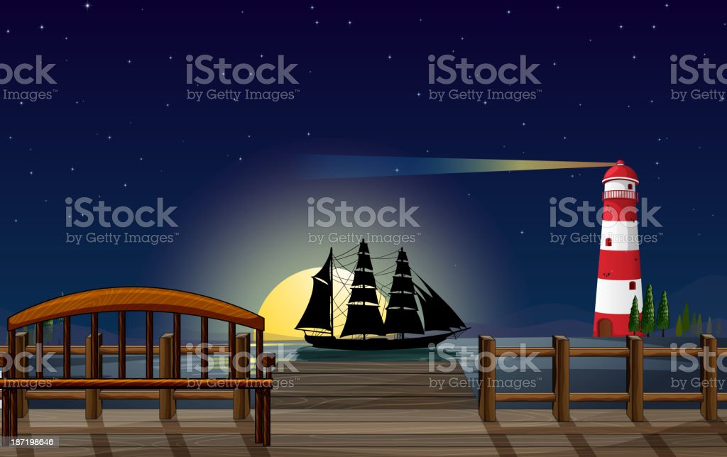 beautiful scenery at the port royalty-free stock vector art