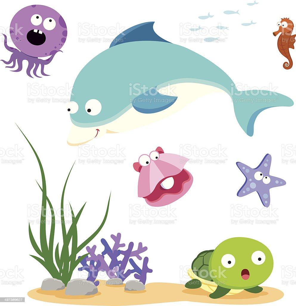 Beautiful sea life vector art illustration