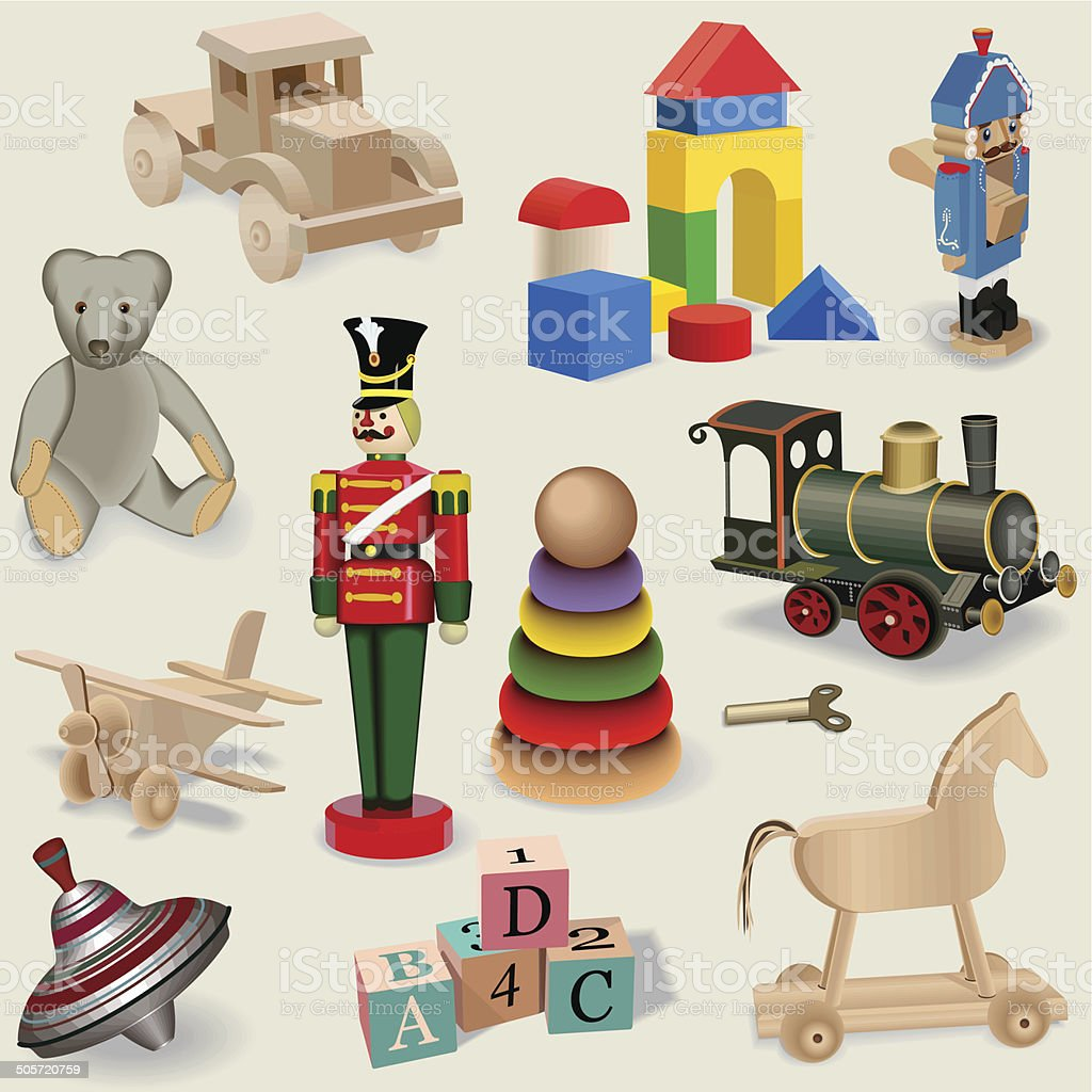 Beautiful seamless background of realistic vintage toys , vector. royalty-free stock vector art