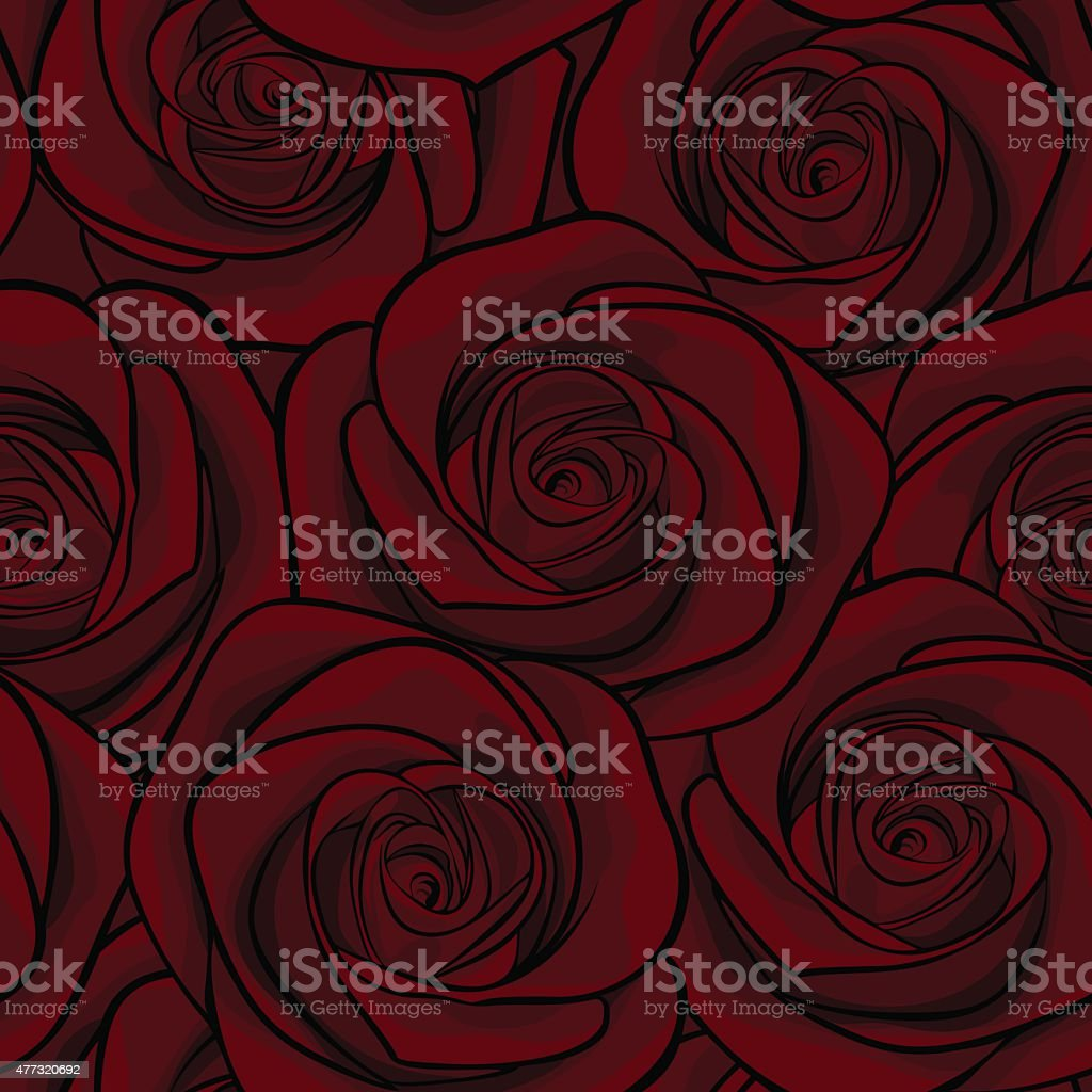 Beautiful seamless background with red roses vector art illustration