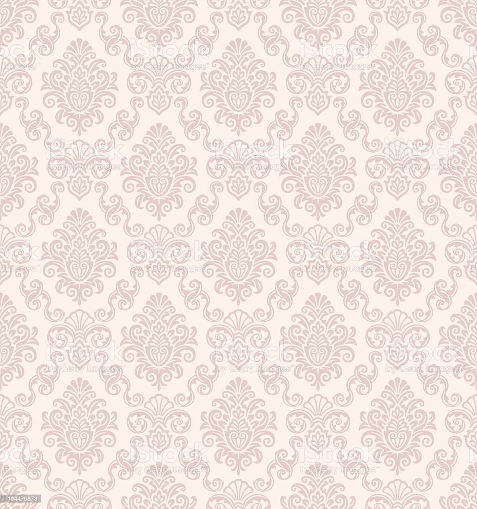 Beautiful seamless damask pattern in baby pink vector art illustration
