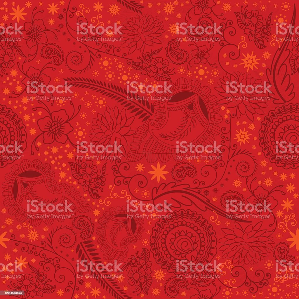 Beautiful Seamless Paisley Doodle Background stock photo