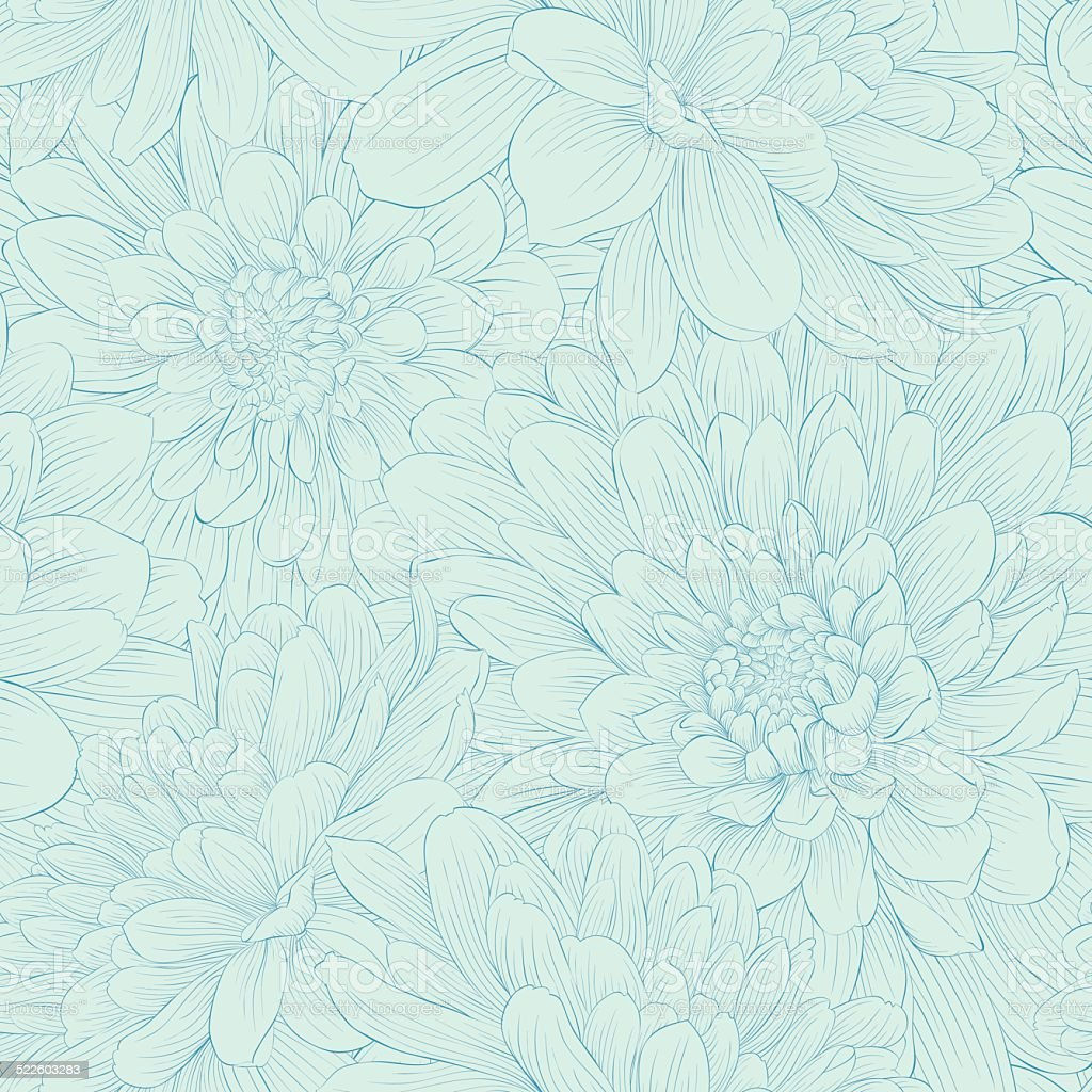 Beautiful seamless pattern with blue dahlia flowers. vector art illustration