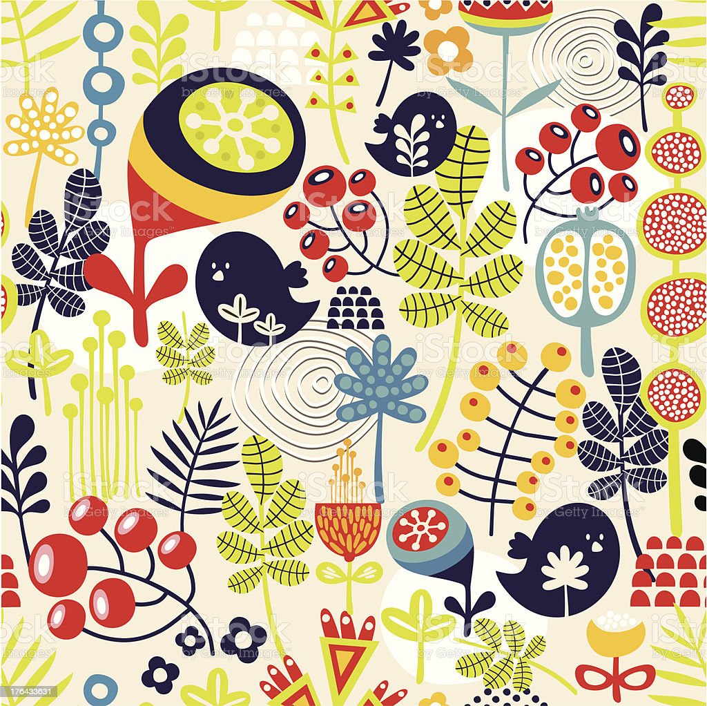 Beautiful seamless pattern with cute birds and pretty flowers. royalty-free stock vector art