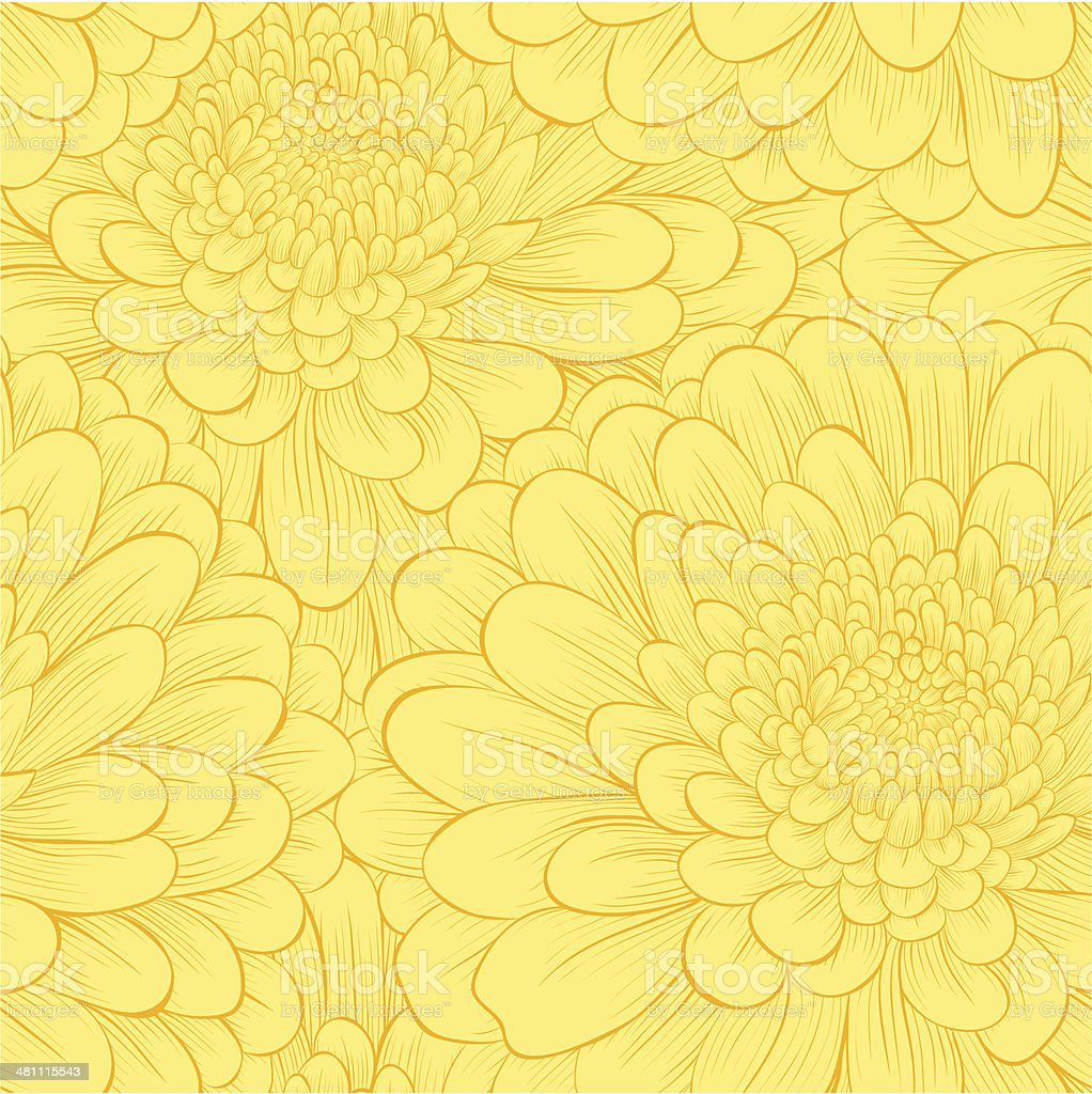 Beautiful seamless pattern with hand-drawn flowers. vector art illustration