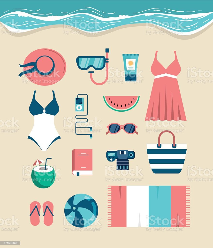 Beautiful set of beach essentials vector art illustration