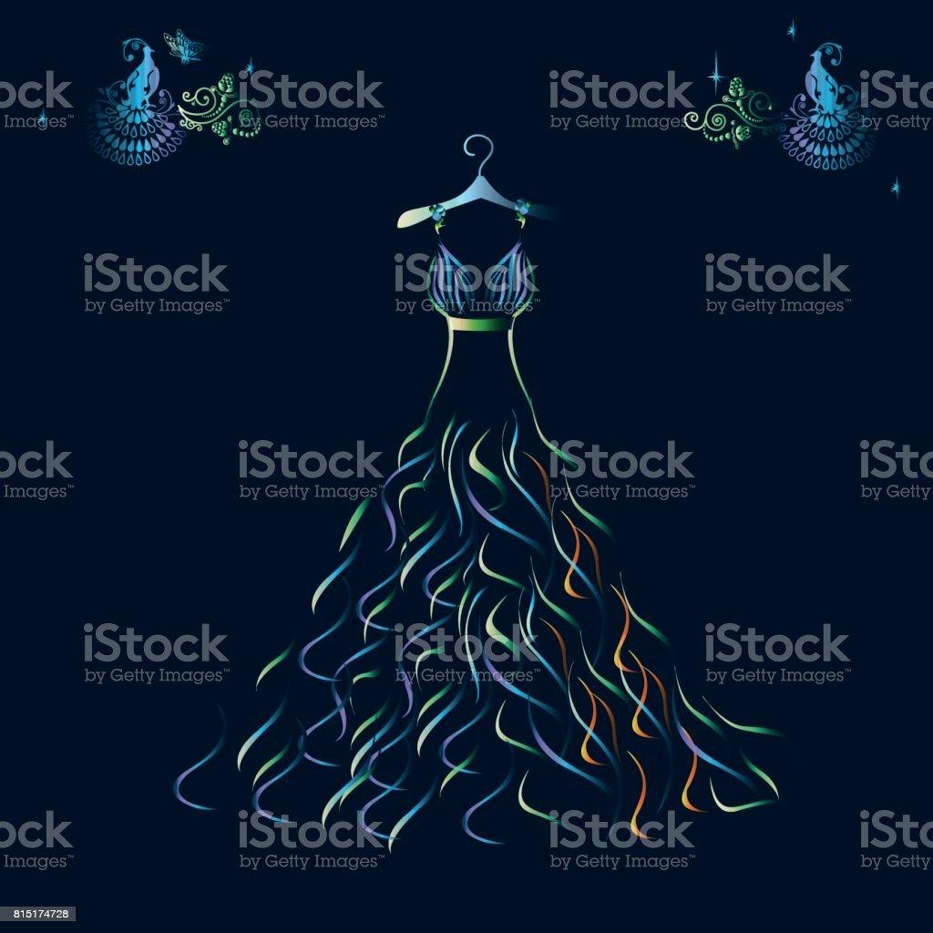 Beautiful shining evening dress silhouette vector art illustration
