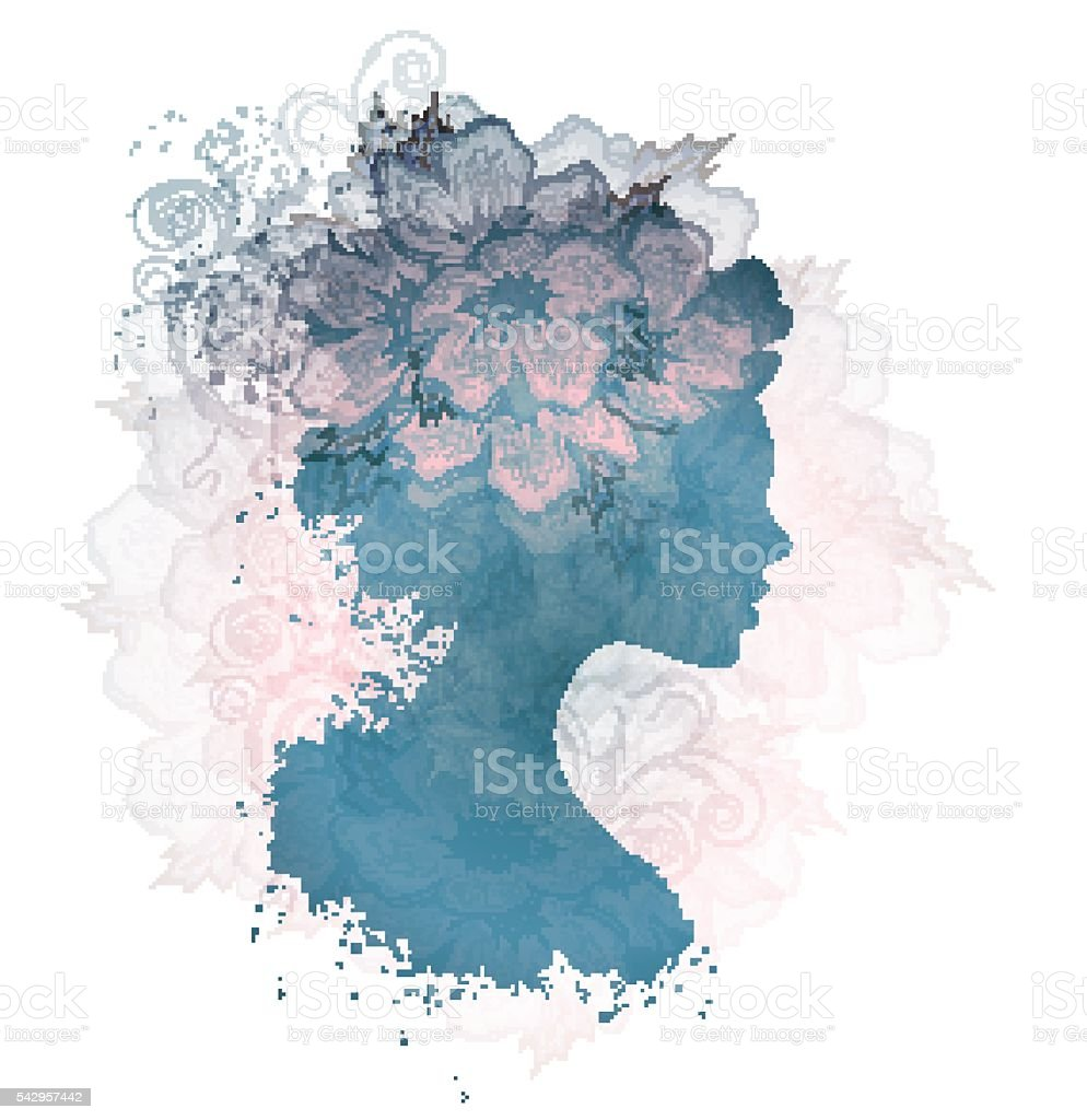 Beautiful Silhouette Floral Woman vector art illustration