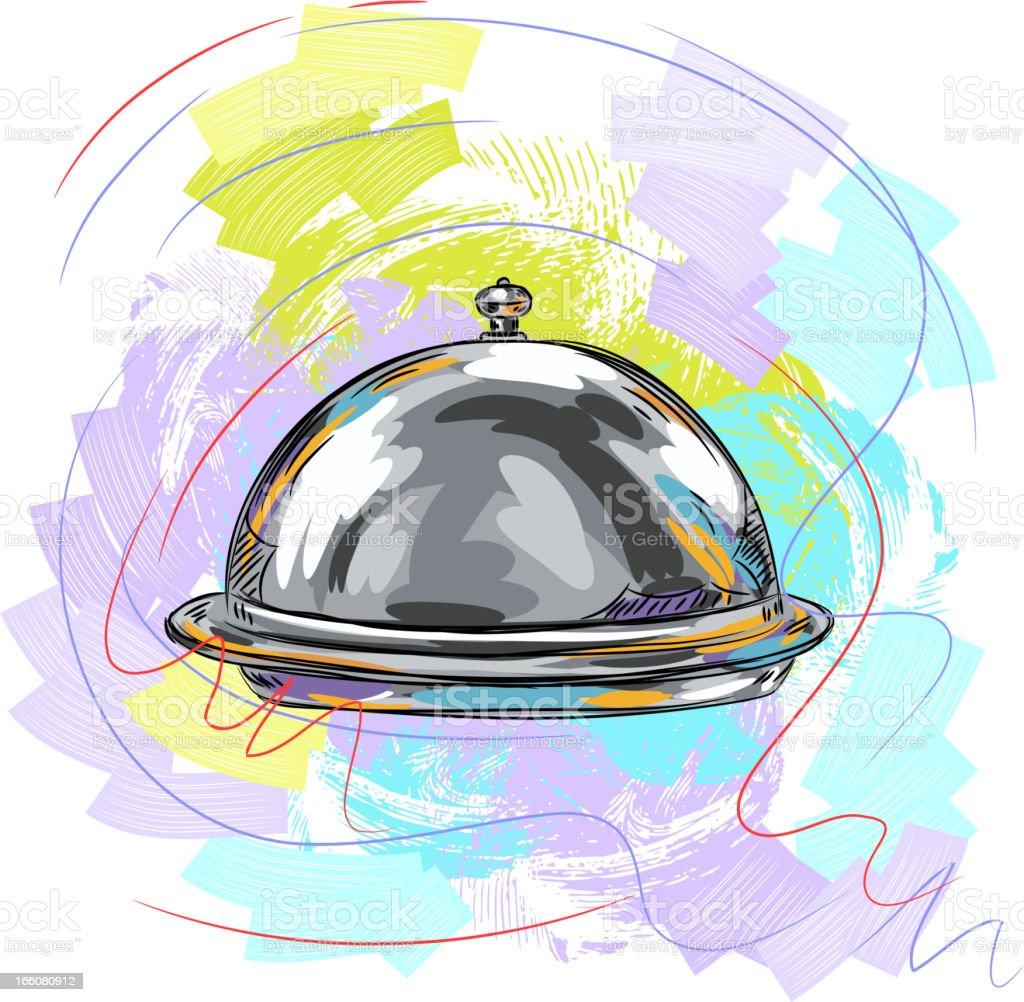 Beautiful Silver platter vector art illustration
