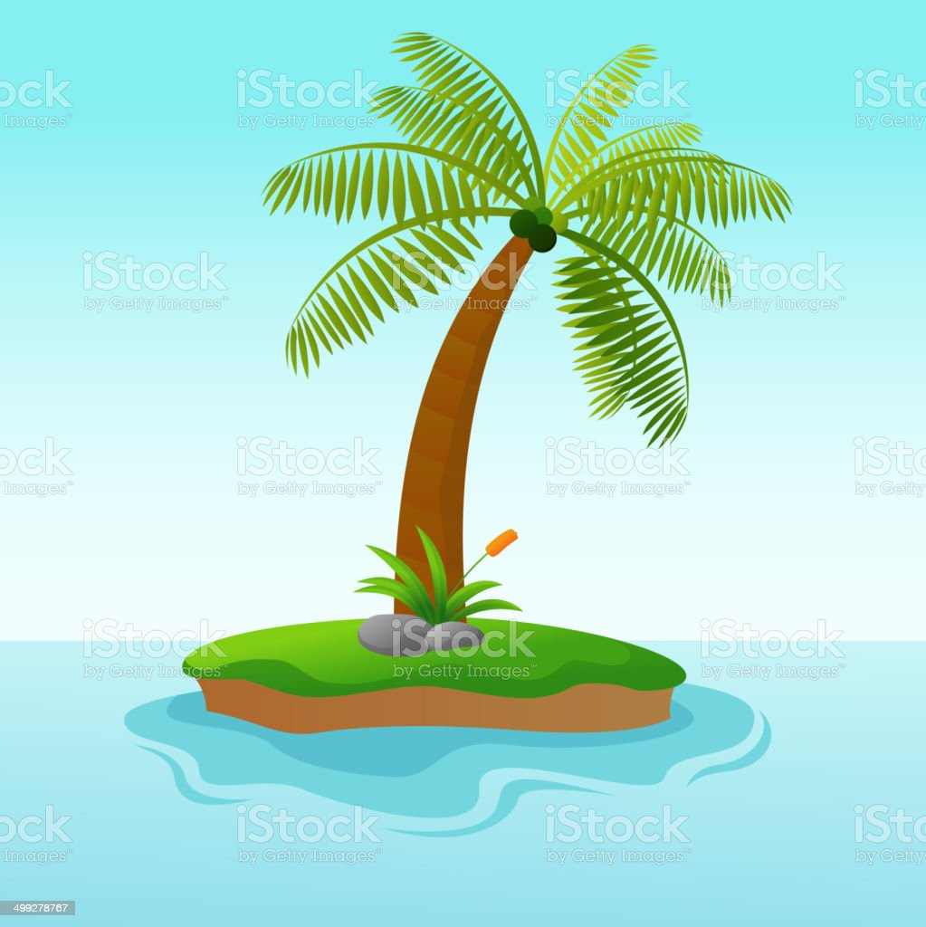 Beautiful Single Coconut Tree Island vector art illustration