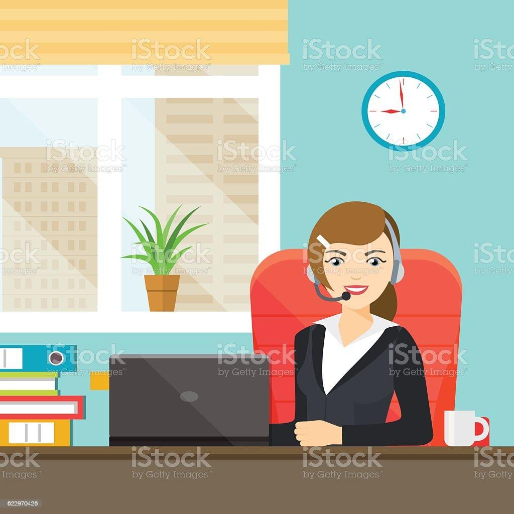 Beautiful smiling woman with headphones. Vector flat illustration vector art illustration