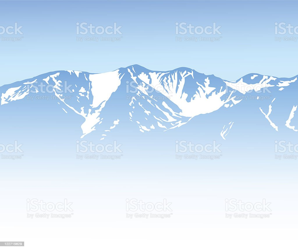 A beautiful snowy winter mountains background  vector art illustration
