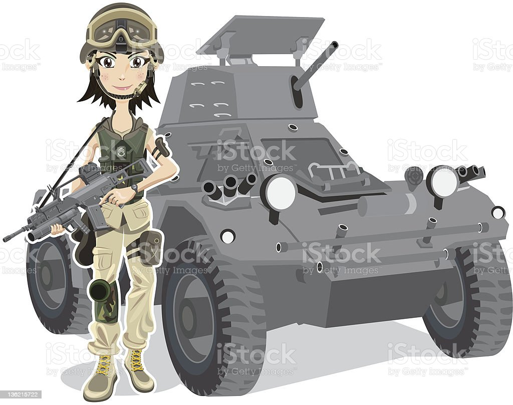 Beautiful soldier royalty-free stock vector art
