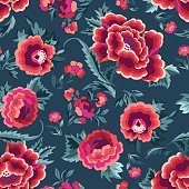 Beautiful Spanish inspired floral print - seamless background