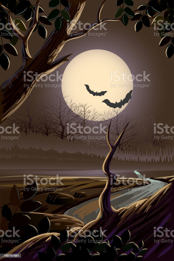 Beautiful spooky landscape royalty-free stock vector art