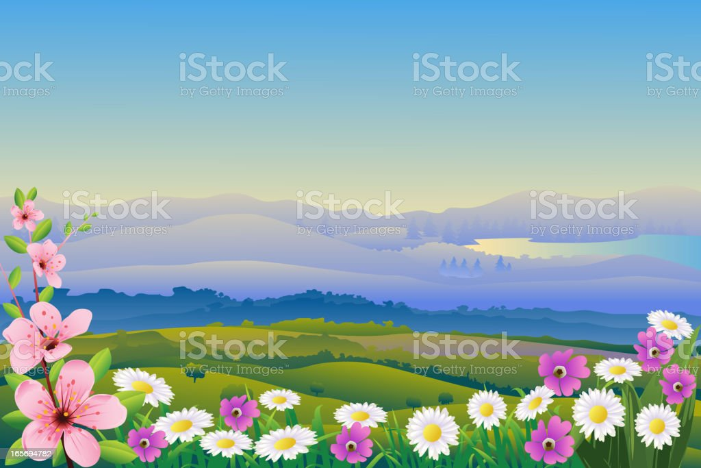 Beautiful Spring Background vector art illustration