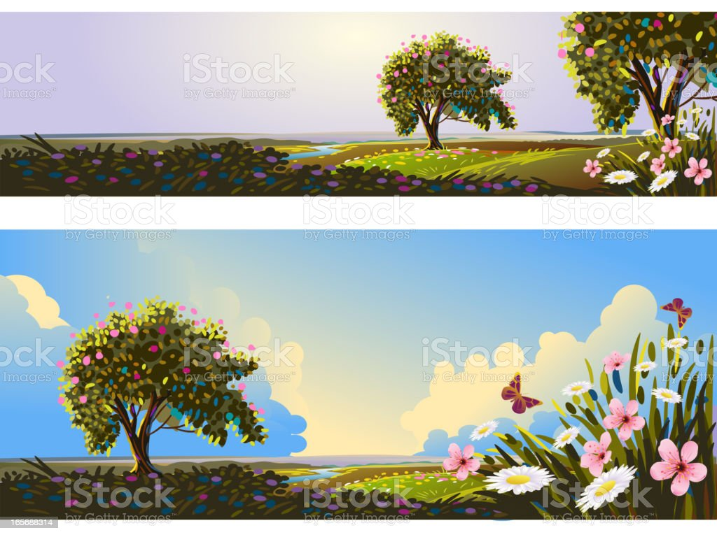 Beautiful Spring Banners/Backgrounds royalty-free stock vector art
