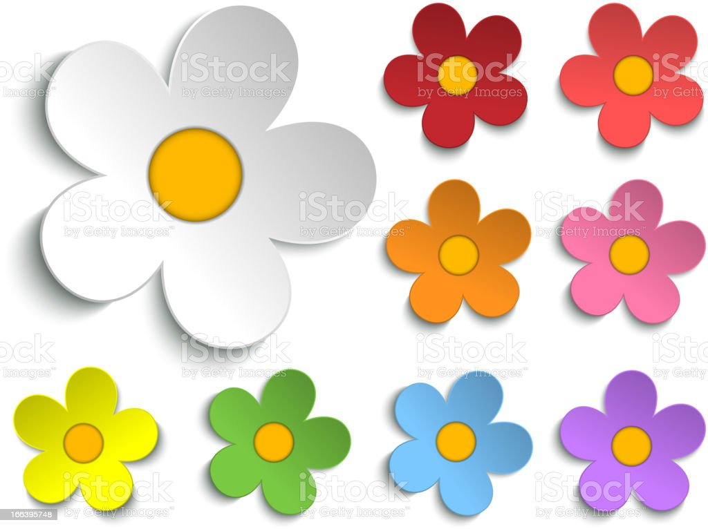 Beautiful Spring White Flowers Isolated Set Collection royalty-free stock vector art