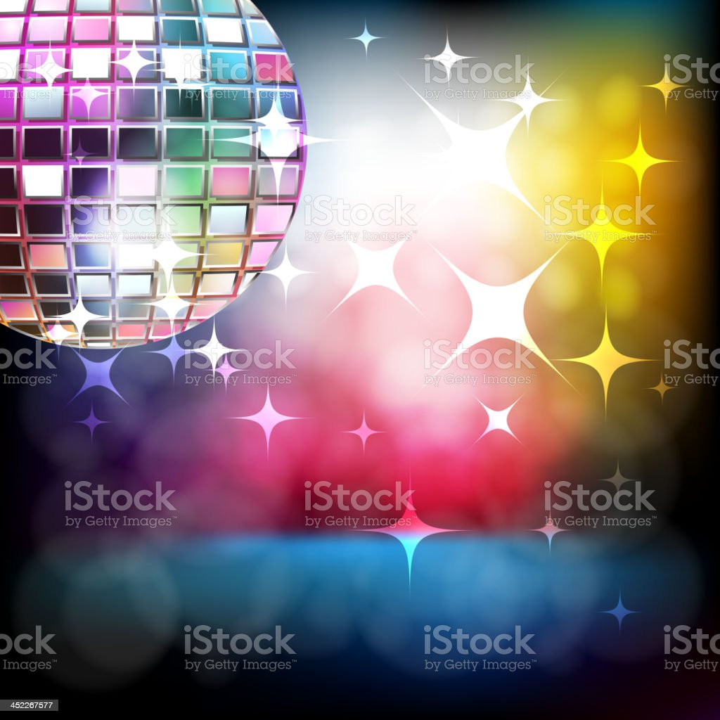 Beautiful Stage with Disco ball royalty-free stock vector art
