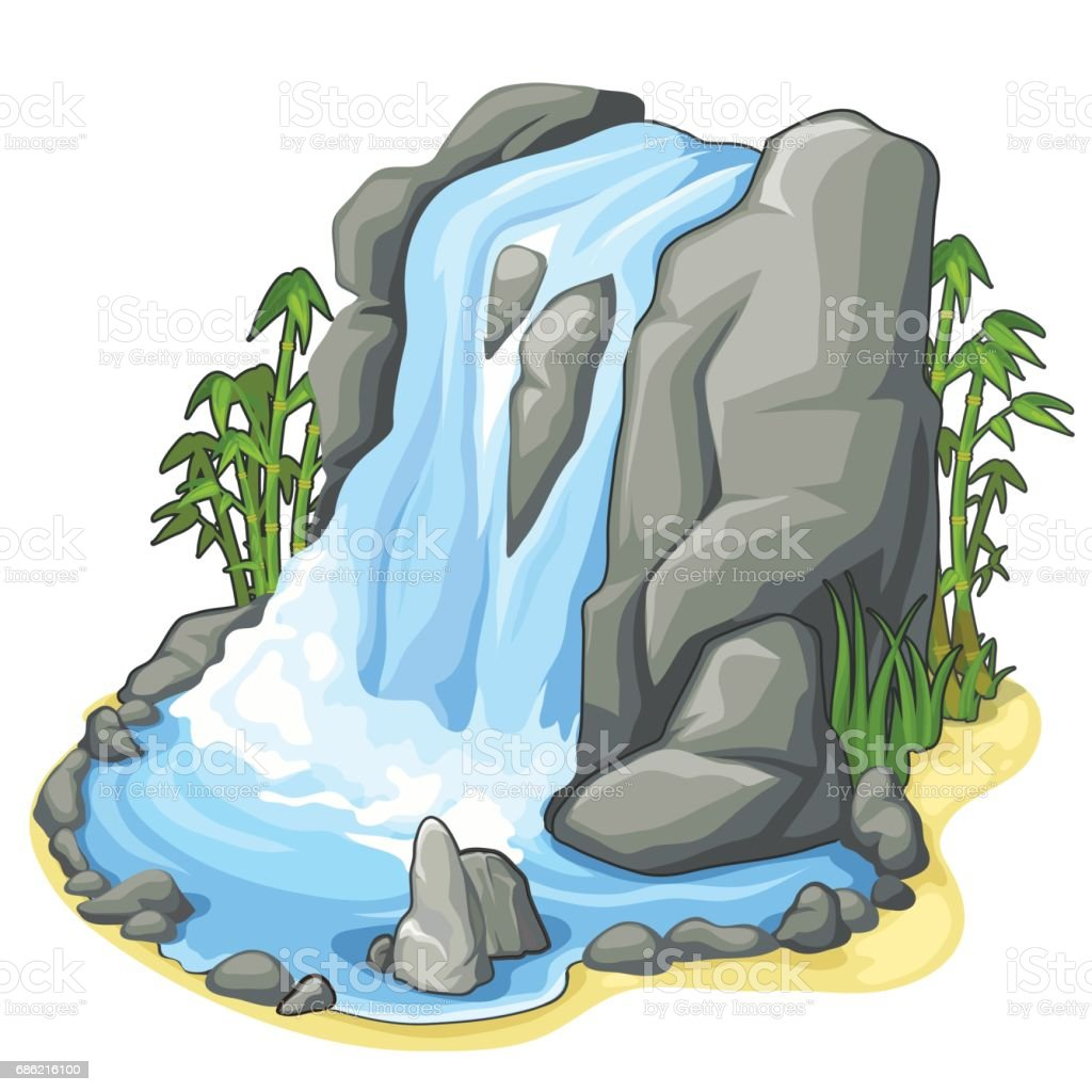 Beautiful stream of waterfall from cliff. Vector vector art illustration