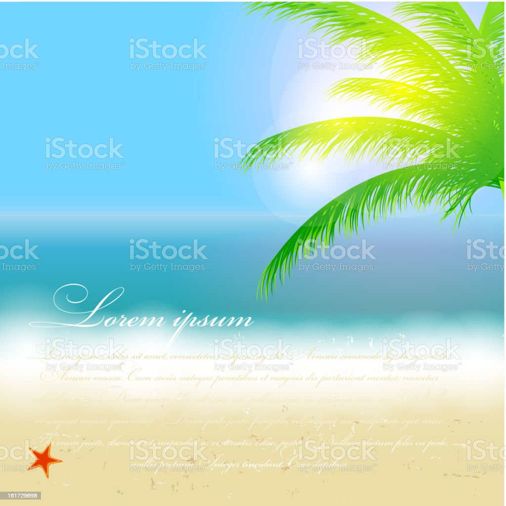 Beautiful summer background with beach, sea, sun and palm tree royalty-free stock vector art