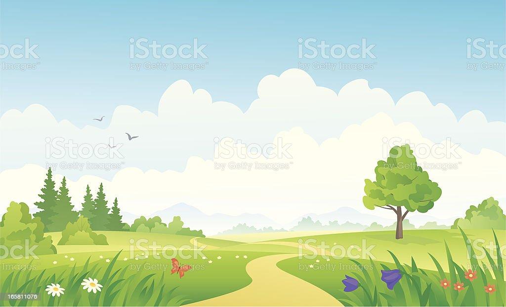 A beautiful summer cartoon landscape image vector art illustration