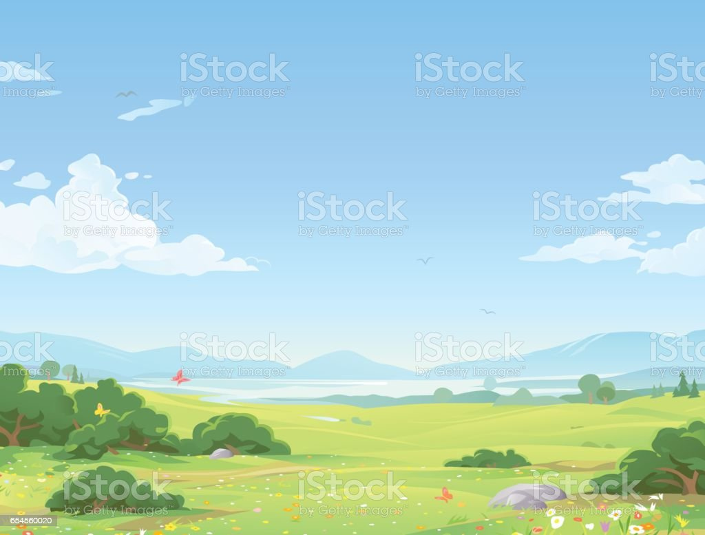 Beautiful Summer Landscape vector art illustration
