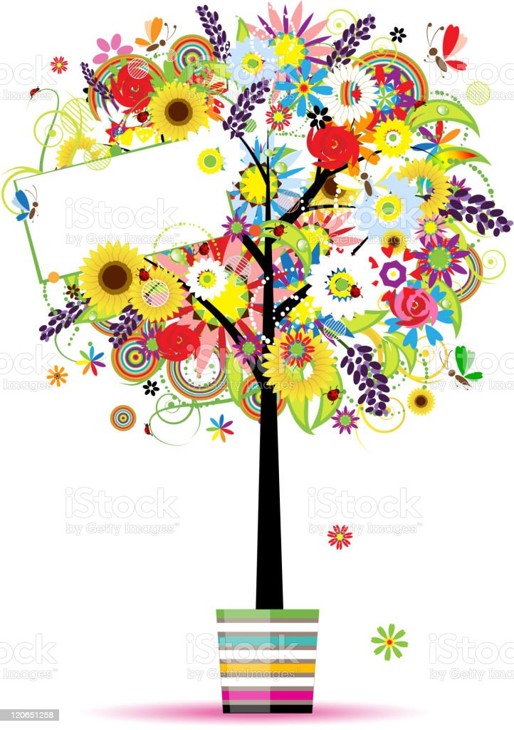 Beautiful summer tree in pot for your design royalty-free stock vector art